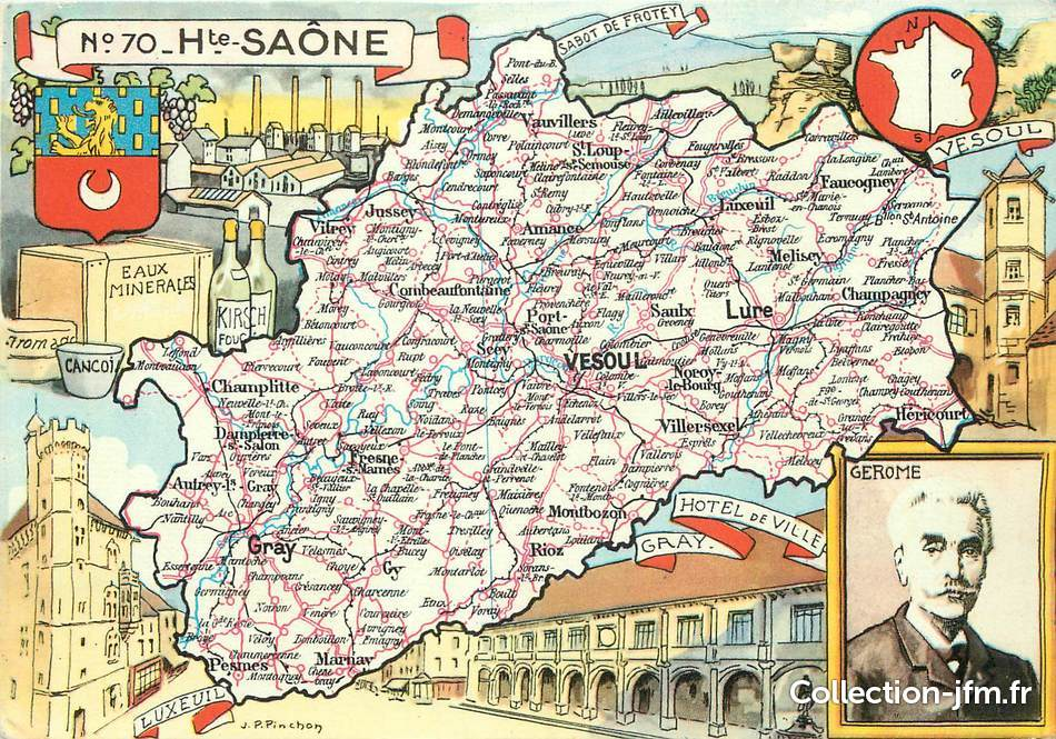 Cpsm france 70 haute sa ne carte geographique 70 for 70 haute saone