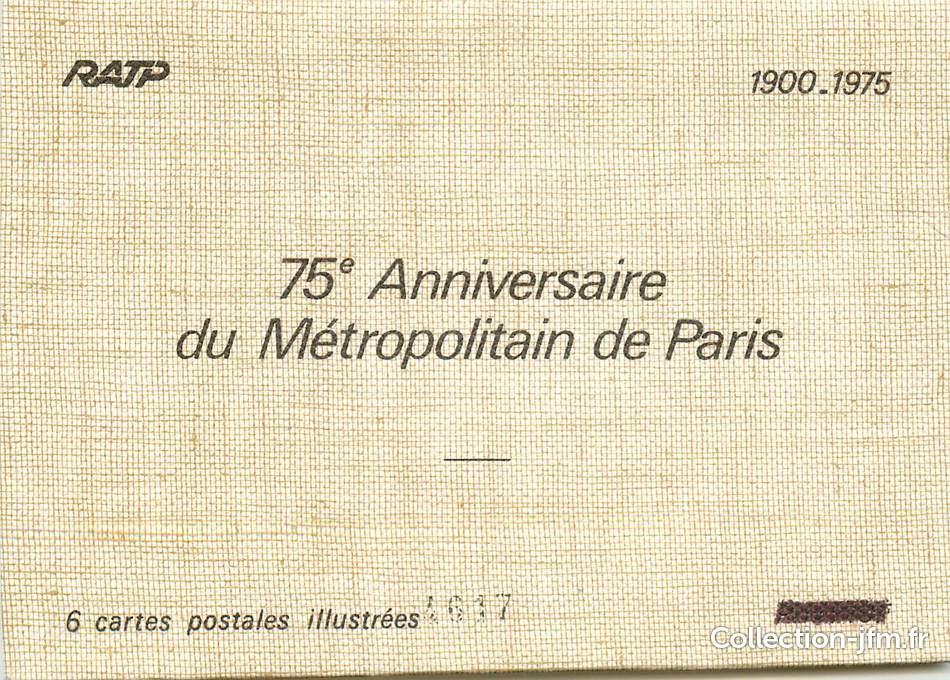 6 Cartes Postales Illustrees Dans Pochette Metro 75eme Anniversaire Du Metro De Paris 1900 1975 75 Paris Metro Ref 54912 Collection Jfm Fr