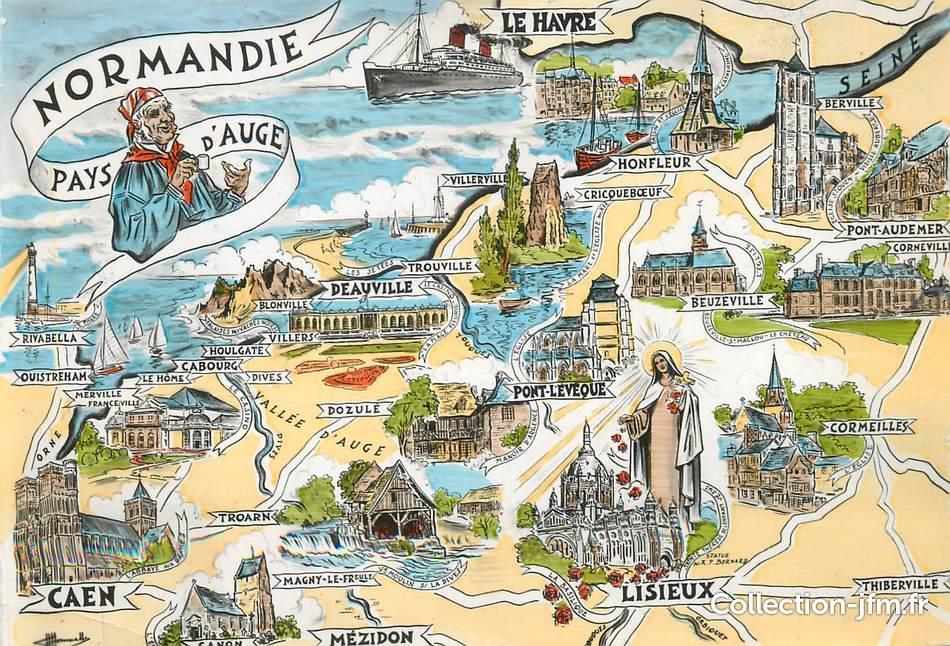 Cpsm france 14 normandie pays d 39 auge carte geographique - Le journal du pays d auge ...