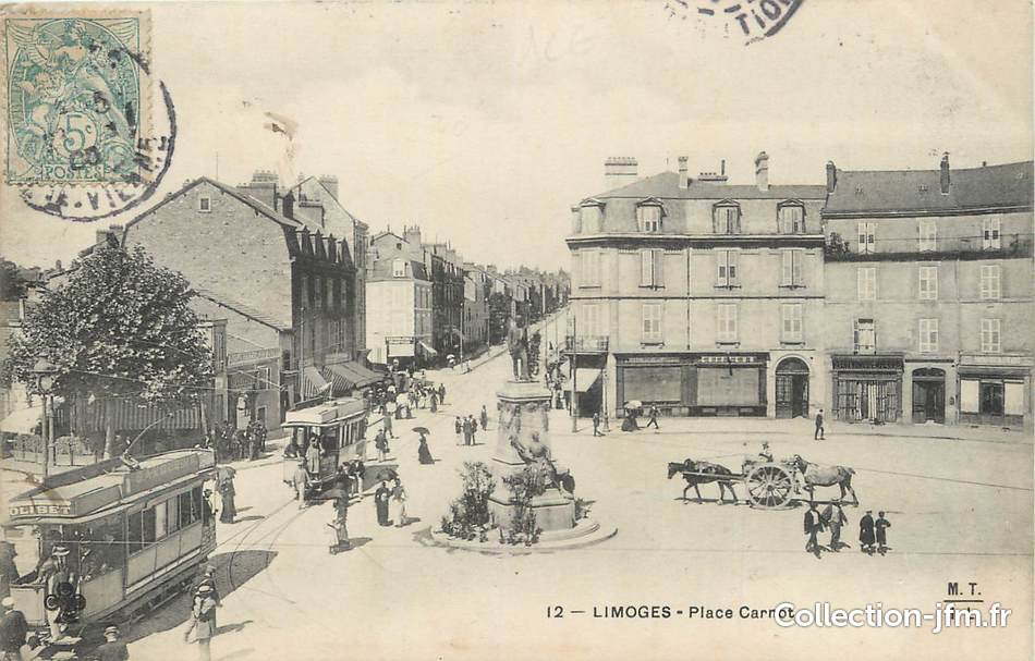 Cpa france 87 limoges place carnot tramway 87 for 87 haute vienne france