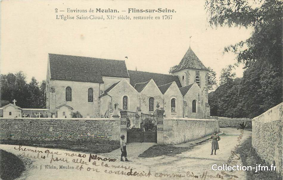 Cpa france 78 flins sur seine l 39 glise saint cloud for Comemploi flins sur seine
