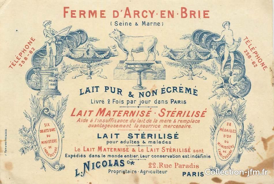 CPA FRANCE 77 Arcy En Brie Ferme Lait CARTE DE VISITE