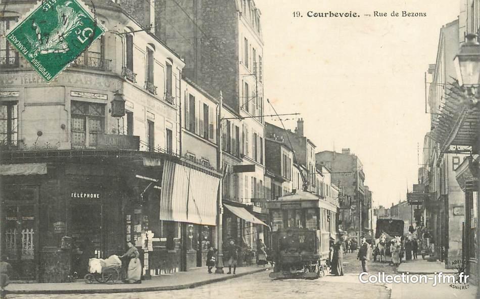 cpa france 92 courbevoie rue de bezons tramway 92 hauts de seine courbevoie 92 ref. Black Bedroom Furniture Sets. Home Design Ideas