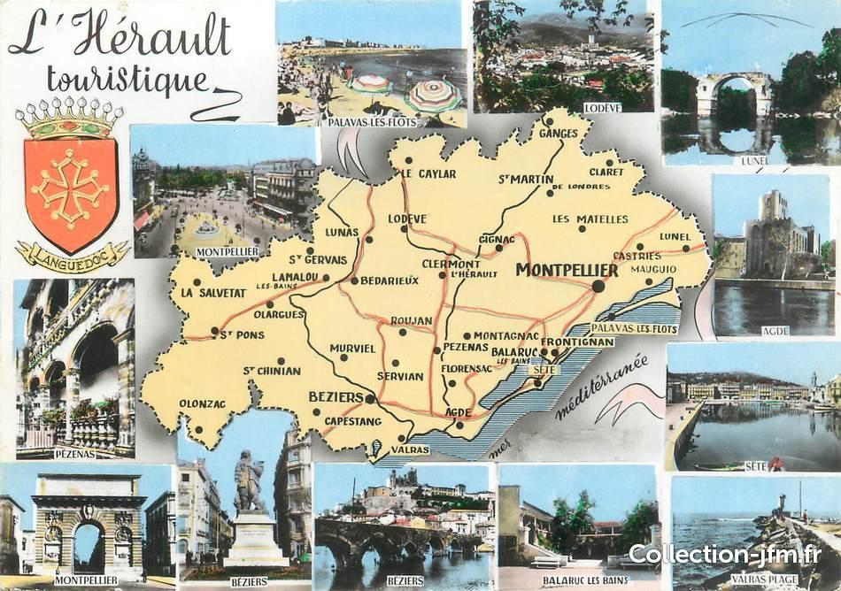 """/ CPSM FRANCE 34 """"L'Hérault touristique"""" / CARTE GEOGRAPHIQUE   34 herault : autres communes (34 ..."""