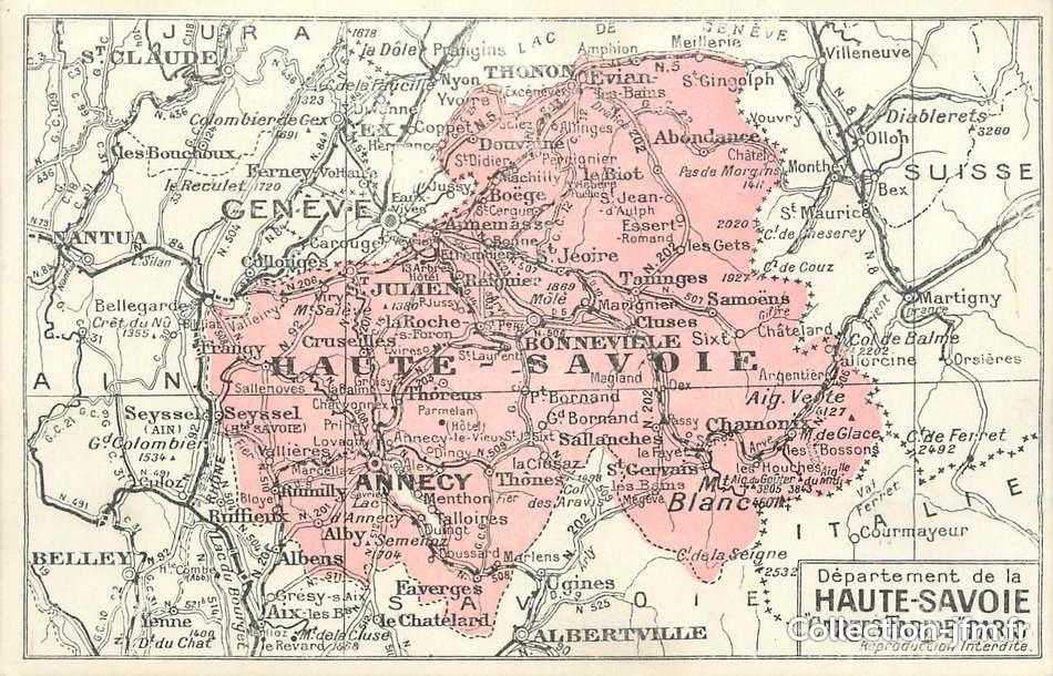 Cpa France 74 Carte Géograhique 74 Haute Savoie Autres