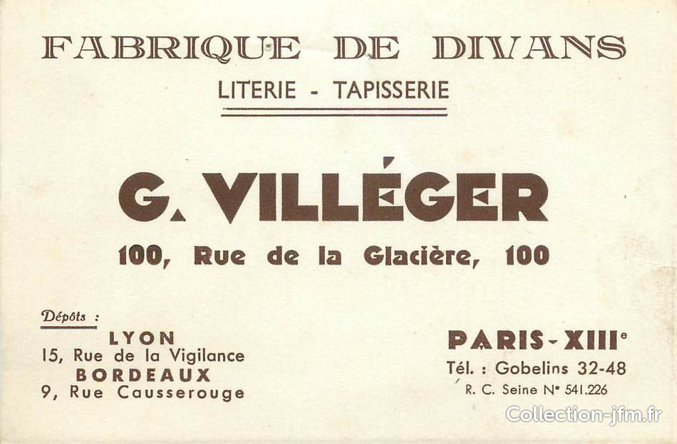 carte de visite france 75013 paris fabrique de divans literie tapisserie pr villeger rue. Black Bedroom Furniture Sets. Home Design Ideas