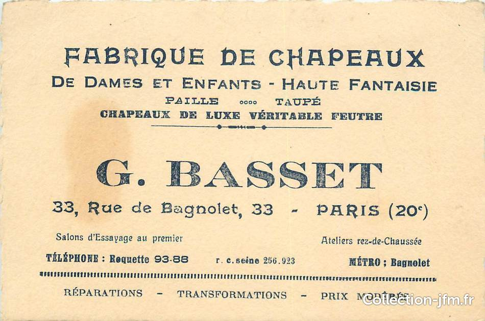 Carte De Visite FRANCE 75020 Paris Fabrique Chapeaux