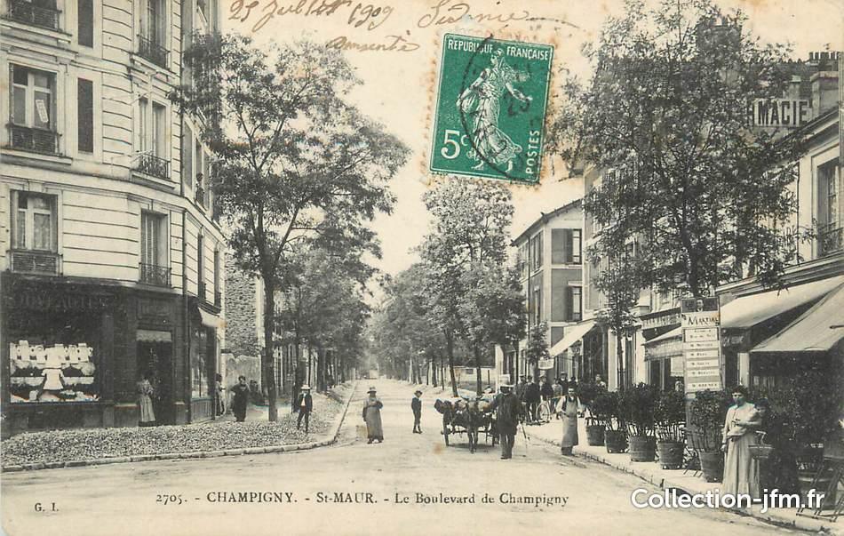 Cpa france 94 champigny st maur le boulevard de champigny 94 val de marne champigny for Comboulevard de creteil saint maur