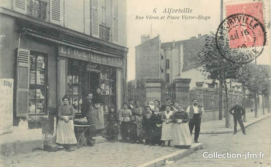 Cpa france 94 alfortville rue v ron et place victor hugo for Garage alfortville rue veron