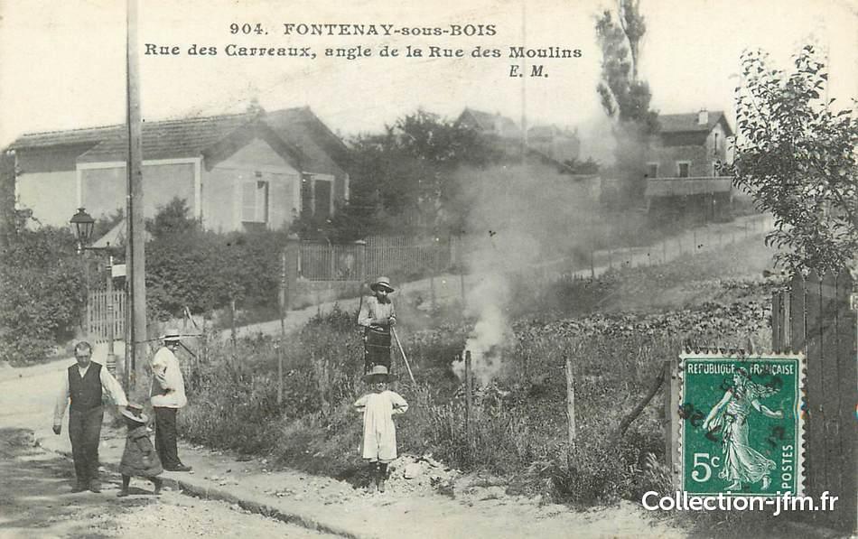 """CPA FRANCE 94"""" Fontenay sous Bois, Rue des Carreaux"""" 94 val de marne fontenay sous bois  # Tatoueur Fontenay Sous Bois"""