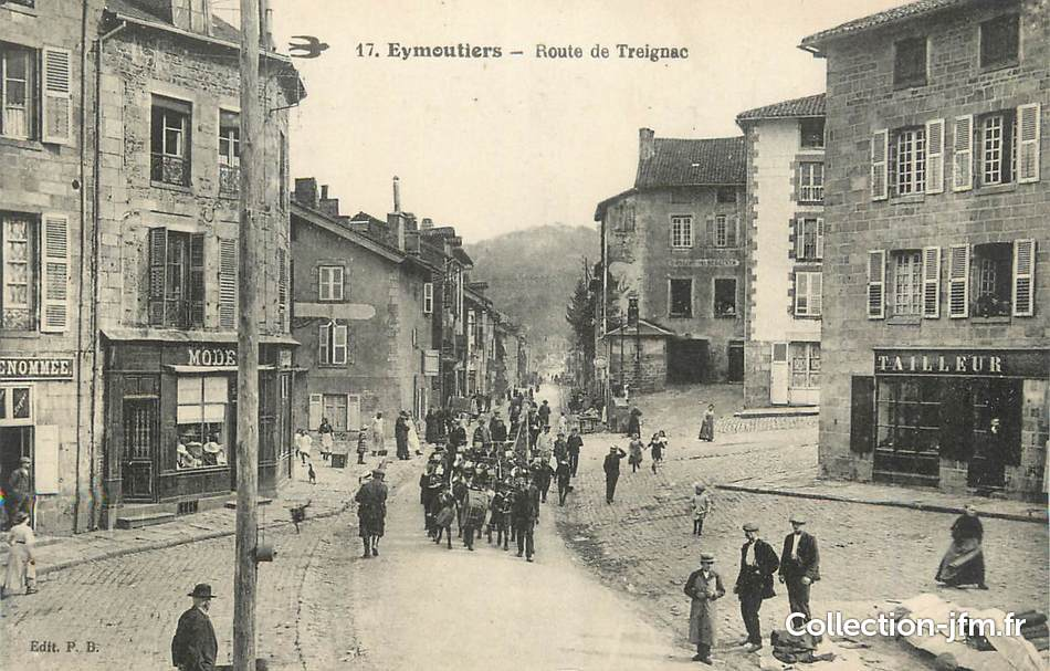 Cpa france 87 eymoutiers route de treignac 87 haute for 87 haute vienne france