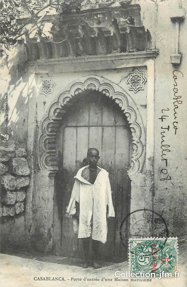 cpa maroc casablanca porte d 39 ent e d 39 une maison marocaine maroc casablanca ref 13446. Black Bedroom Furniture Sets. Home Design Ideas