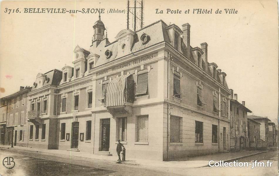 Cpa france 69 belleville sur saone la poste et l 39 h tel - Horaire piscine belleville sur saone ...