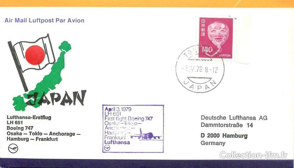 lettre 1 er vol japon osaka tokyo anchorage hambourg francfort 3 avril 1979 1 er. Black Bedroom Furniture Sets. Home Design Ideas