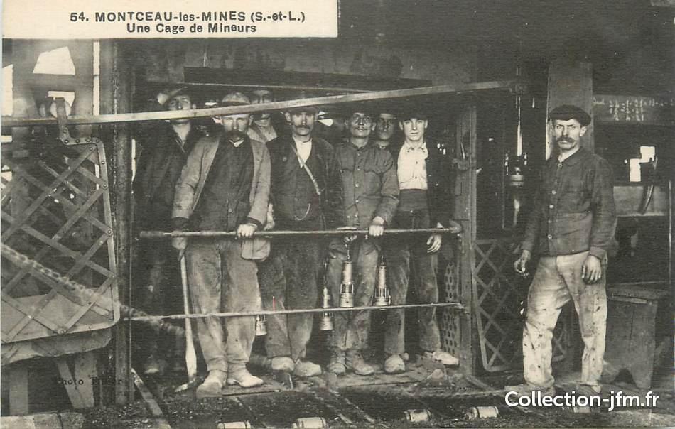 cpa france 71 montceau les mines une cage de mineurs mine 71 sa ne et loire montceau. Black Bedroom Furniture Sets. Home Design Ideas