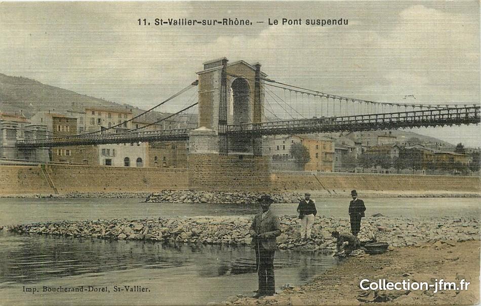 cpa france 26 saint vallier sur rhone le pont suspendu 26 dr me autres communes 26. Black Bedroom Furniture Sets. Home Design Ideas