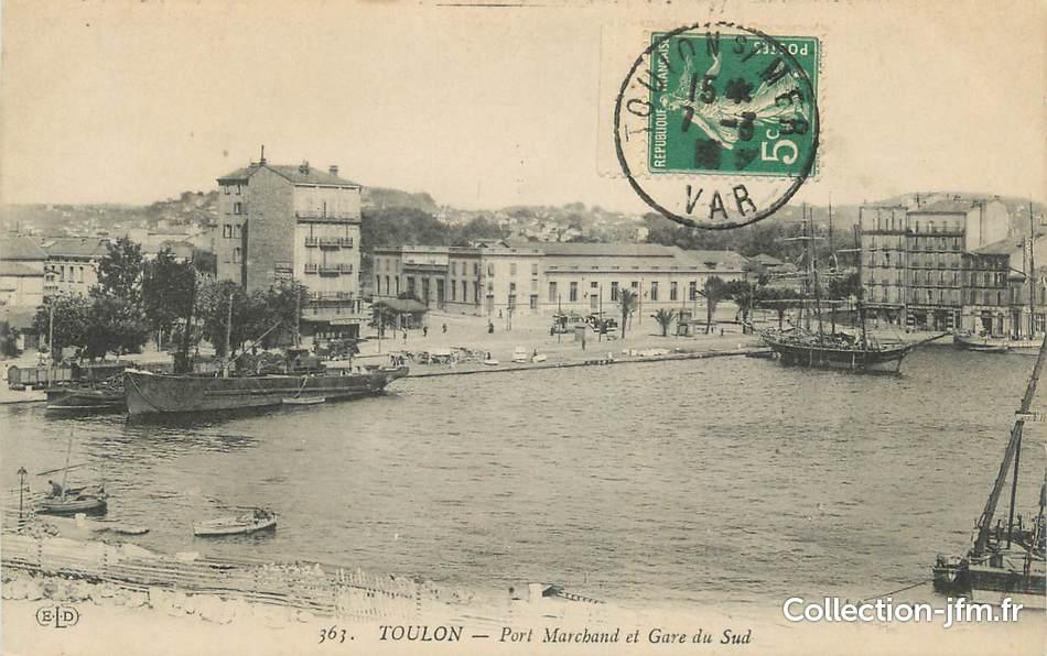 Cpa france 83 toulon port marchand et gare du sud 83 for Piscine du port marchand