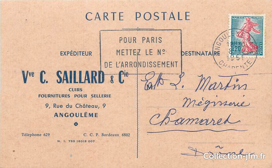 Cpsm france 16 angoul me sellerie carte for Plan angouleme 16