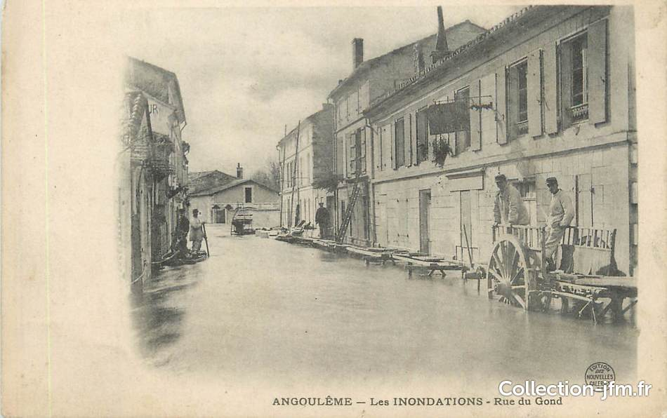 Cpa france 16 angoul me rue du gond inondations 16 for Angouleme 16