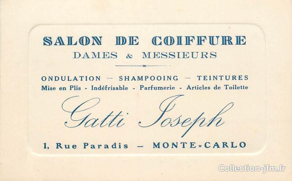 CDV Carte De Visite MONACO Salon Coiffure Rue Paradis