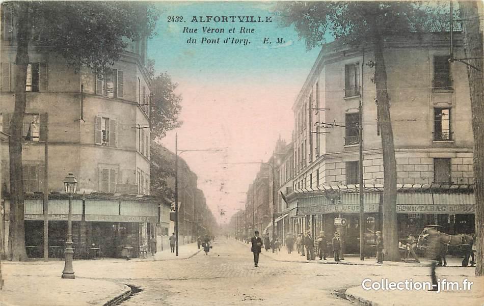 Cpa france 94 alfortville rue v ron et rue du pont d for Garage alfortville rue veron