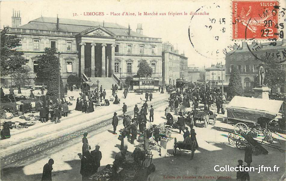 Cpa france 87 limoges place d 39 aine le march aux for 87 haute vienne carte