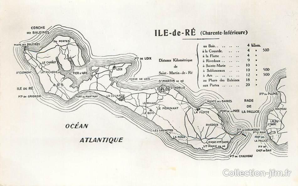 cpsm france 17 ile de r carte geographique 17 charente maritime ile de r 17 ref. Black Bedroom Furniture Sets. Home Design Ideas