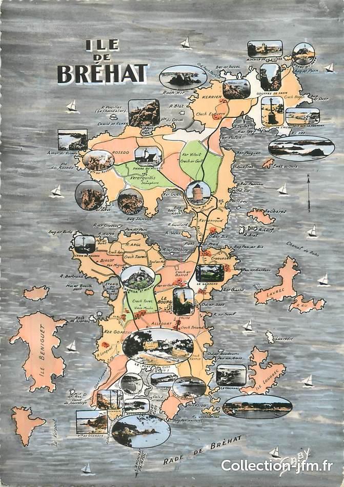 Cpsm France 22 Ile De Bréhat Carte Geographique 22