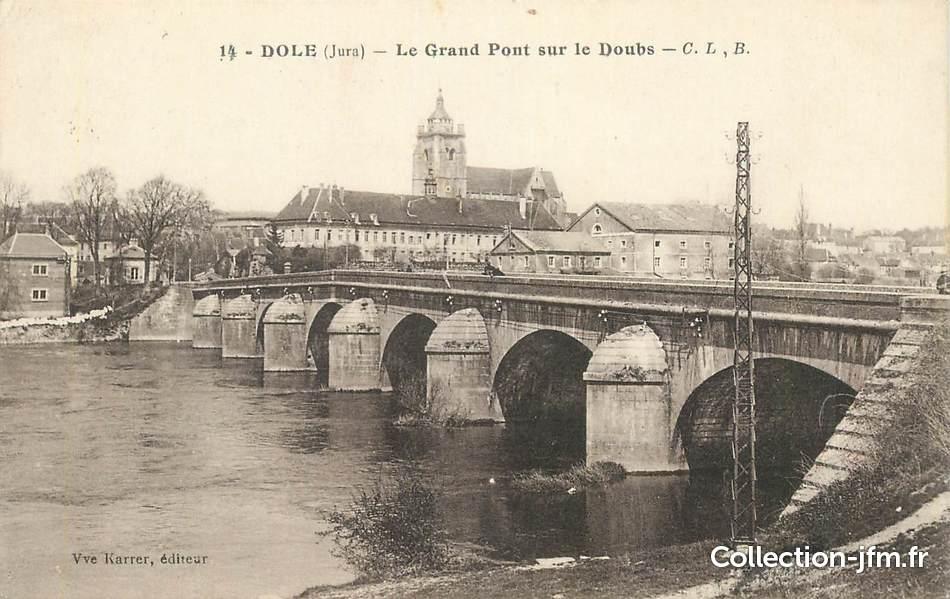 Cpa france 39 dole le grand pont sur le doubs 39 jura for Plan dole 39